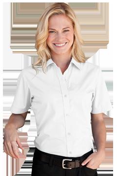 1101S_Women's Blended Poplin Short Sleeve Shirt-Vantage