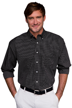 1105_Easy-Care Poplin Box Plaid Shirt-Vantage