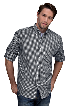 1107_Easy-Care Gingham Check Shirt-Vantage