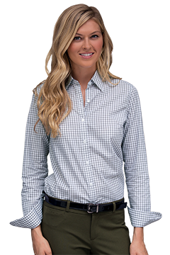 1108_Women?s Easy-Care Gingham Check Shirt-Vantage