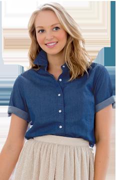 1978S_Women's Short-Sleeve Hudson Denim Shirt-