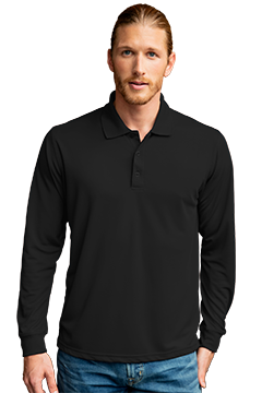 2602_Vansport Omega Long Sleeve Solid Mesh Tech Polo-