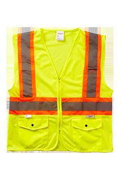 XVSV3355MZ_Xtreme Visibility DOT Class 2 Contrast Stripe Zip Vest-